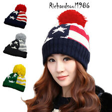 Ladies' Baggy Knit America Flag Patriotic Winter Cap Beanie Pom Pom Sik Hat