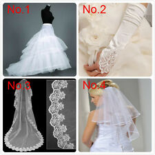 2014 New Bridal 2-Hoop Petticoat Gloves 3M Veil Wedding Dress bride accessories