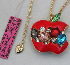 Betsey Johnson Crystal Apple Opal Pendant Sweater Chain Necklace