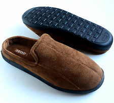 IZOD Men's Microsuede Slip-On Slippers Brown Size M L XL 2XL Retail:$36