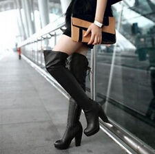Womens Over Knee Boots Platform Blacok Heel Plus Size Knight Candy Fashion Shoes