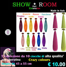 10 Extension con cheratina Crazy colours ALTA QUALITA' 100% Remy CM.  NO CINA
