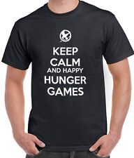 HUNGER GAMES KEEP CALM AND HAPPY HUNGER GAMES T-SHIRT TSHIRT MEN WOMEN LADIES