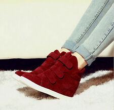 Women Strap Canvas High Top Wedge Hidden Heels Ankle Boots Sneaker Shoes XWB032
