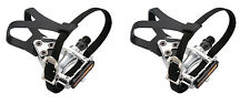 WELLGO ROAD / MTB PEDALS WITH TOE CLIPS & STRAPS, Choice of Alloy or Resin pedal