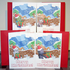 Christmas cards inspired by video games: Minecraft Zombie Skeleton Enderman Wolf