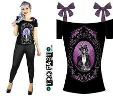 NEW Too Fast Annabel Bow Ms Skunk Tee Shirt Fitted Top Punk Goth Cameo Tattoo