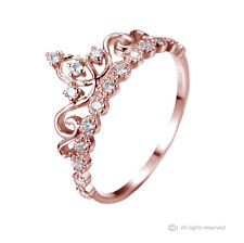 Dainty Rose Gold-plated Sterling Silver Princess Crown Ring - AZDBR5456RG-DN