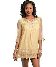 NEW GOLD LACE EMBROIDERED 3/4 SLEEVE MINI DRESS TUNIC TOP pick S M L
