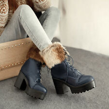 Women's Faux Leather Block High Heels Warm Furry Trim Lace Up Gothic Punk Boots