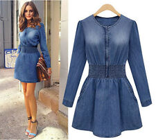 Women Autumn Winter Long Sleeve Denim Casual Evening Party Cocktail Slim Dress