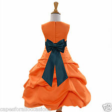 ORANGE WEDDING FLOWER GIRL DRESS 2 2T 3T 4 4T 5T 6 6X 7 8 9 10 11 12 13 14 15 16