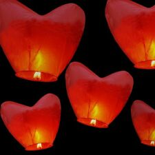 5Pcs Paper Heart Chinese Kongming Lanterns Sky Fire Fly Candle Lamp Wish Party