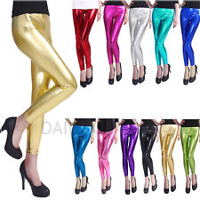 Sexy Womens Footless Metallic Liquid Wet Look Shiny Dance Leggings Tight-Pants