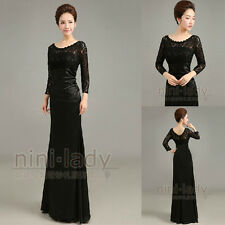 Black Lace Formal Long Party Ball Gown Prom Evening Dresses Size 6 8 10 12 14 16