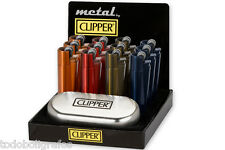GENUINE METAL CHROME METALLIC CLIPPER LIGHTER WITH GIFT CASE TIN