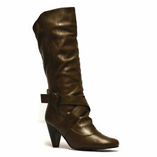 Ladies Womens Leather Mid Calf High Heel Biker Riding Winter Boots Shoes Size