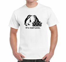 MEN'S T SHIRT MONTY AND MABEL PENGUINS IT'S REAL LOVE INSPIRED BY THE TV ADVERT