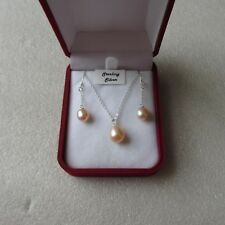 ELEGANT SINGLE DROP FRESHWATER PEARL NECKLACE & 925 EARRING SETS - ASS COLOURS