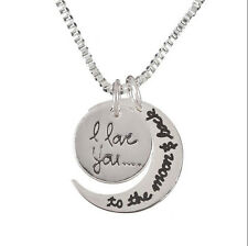 """Silver & Gold Tone """"I Love You To The Moon and Back"""" Pendant Necklace Jewelry"""
