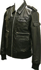 Mens Real Leather Soft Nappa Black Fitted Bomber Urban Zipped Jacket Vintage