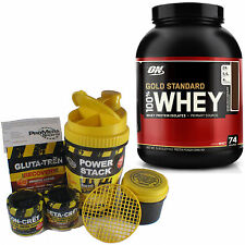GOLD STANDARD 100% WHEY Protein, 5 LB,  + ConCret Power Stack Shaker