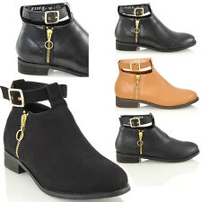 NEW WOMENS CHELSEA CUT OUT BUCKLE BOOTS LADIES LOW BLOCK HEEL ANKLE SHOES SIZE