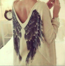 Back wings t-shirt for women, autumn winter long sleeve Angel wings print shirt