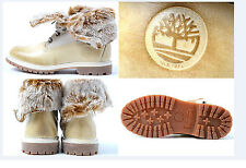 Timberland Womens WHITE Leather Winter Boots Faux Fur Fold Down 26653
