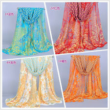 New Style Fashion Long Peacock Shawl Scarf Wrap Lady Chiffon Scarves
