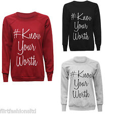 Womens Michelle Keegan Know Your Worth Winter Jumper Ladies Warm Casual Pullover
