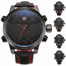 U.S.A SHARK Luxury LED Date Military Army Quartz Leather Mens Sport Watch