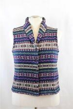 Champs Petite Tribal Printed Button Down Womens Knit Sweater Vest PM, PL New $69