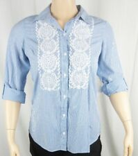 Womens NWT Charter Club Blue White Stripe Button Down Top Shirt Blouse 0X 3X