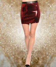 NEW RED SEQUIN MINI SKIRT pick S M L CHRISTMAS NEW YEARS EVE VALENTINES DAY