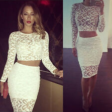 Women Crop Top and Skirt Clothing Set Sexy Two-piece Long Sleeve Bodycon Dress