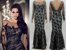 New SEXY Black Lace Wedding Evening Party Dress Prom Ball Gown Formal Cocktail