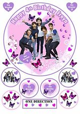Edible Pretty One Direction Personalised Birthday Cake Topper Cupcakes