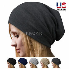Cotton Baggy Beanie Slouch Plain Oversize Winter Ski Hat Cap Skull Solid 099