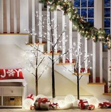 Indoor Outdoor Lighted Pre Lit SNOWY TWIG TREES Christmas Holiday Decor 2 SIZES