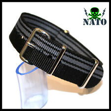 NATO G10 BLACK STRIPES 4 RING NYLON military diver's watch strap band grey blue