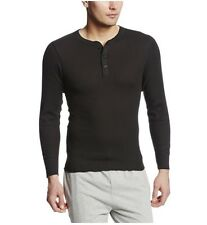 Hanes Mens X-Temp Thermal Henley, Size XL, Black