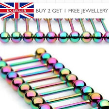 Rainbow Titanium Anodized Tongue Barbell Piercing Nipple Bar Choose Length - UK
