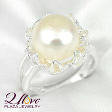 50% Promotion ! Woman Round Natural Fresh Water Pearl Gems Silver Rings Sz 7 8 9