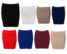 Ladies Bandage Bodycon Skirt Womens Ribbed Panel Stretchy Mini office Skirts