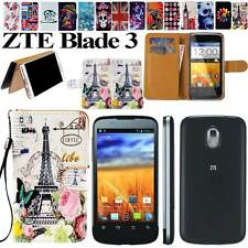 New Folio Flip Leather Stand Card Wallet Magnetic Cover Case For ZTE Blade 3 III