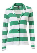 Best Connections Women's Knit Jacket Green Striped Fine Knit 42 44 New
