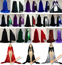 New Stock Hooded Cloak Coat Velvet Cape Shawl Halloween Wedding 12 colors S-XXL