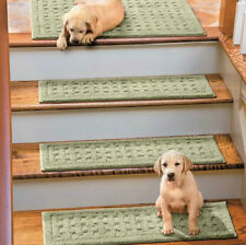 "SET 4 36"" BASKETWEAVE WASHABLE INDOOR STAIR TREADS Carpet YOUR CHOICE 6 COLORS"