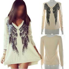Korean Fashion Women Loose Oversized Angel Wings Printed Blouse Tops Dresses New